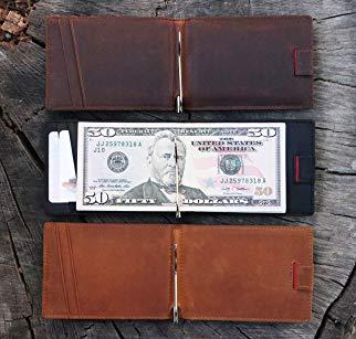 Portefeuille en cuir avec pince à billets